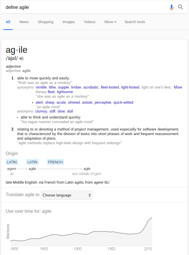 google-define-agile